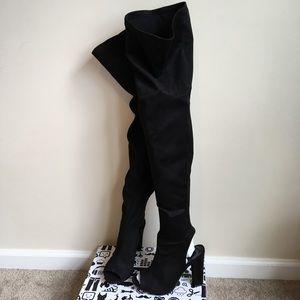 New Black suede over the Knee Peep Toe Heel Boots